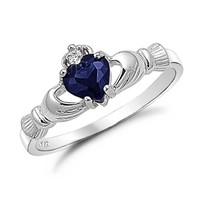 Sterling Silver Blue Sapphire Heart CZ Claddagh Ring Sizes 4 to 9, 5