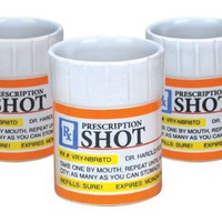 Big Mouth Toys Prescription Pill Bottle Shaped Shot Glass Set, 3-Pack