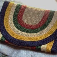 Woven Straw Clutch Vintage Festive Striped  Summer  Purse Ethnic Handbag
