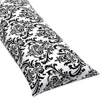 Damask Full Length Double Zippered Body Pillow Cover for Black and White Isabella Bedding Set
