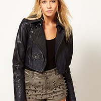 ASOS Short Quilted Biker Jacket at asos.com