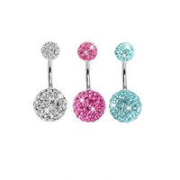 Lot of 3 Pieces Belly Ring Swarovski Crystal Belly Button Rings 14G (1.6~mm) 3/8