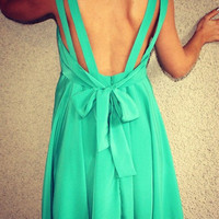 Double Strap 'Alice' Dress with Tie Back (Green)