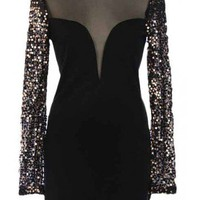 Sequin Sleeve Dress - Kely Clothing