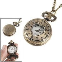 Rosallini Ladies Cut Out Heart Hunter Case Necklace Pocket Watch Bronze Tone