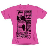 Johnny Cash Women's Show Skinny Fit T-Shirt (Black)