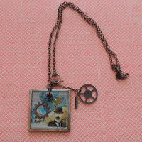 Intricate Watch Piece Resin Necklace