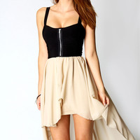 Matilda Contrast Skirt Chiffon Mixi Dress