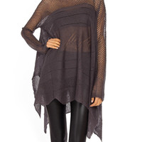 Open Knit Poncho Sweater - 2020AVE