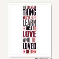 Quote Artwork Print - Love and Be Loved - Typography Poster Print (Red Black White) - 11x14 Valentine by ColorBee on Etsy
