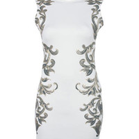 Cream Baroque Mirror Print Bodycon - Going Out Dresses - desireclothing.co.uk