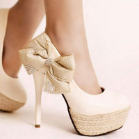 White Black Women's Bowknot Rhinestone Leather Slim High Heel Shoes US 5-US 8.5