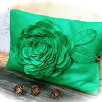 Green felt flower pillow case unique rustic home decor