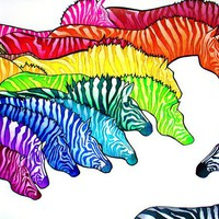 Zebradellic Print (psychedelic neon rainbow zebras in colored pencil)