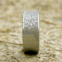14K White Gold Finger Print Wedding Band by AdziasJewelryAtelier