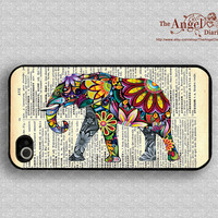 Elephant art &Old newspaper iPhone 4 Case, iPhone 4s Case, iPhone 4 Hard Plastic Case, Personalized iPhone Case--water proof