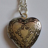 Silver Heart Shaped Locket Necklace for a Friend, Family or Girlfriend