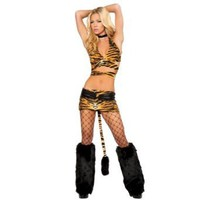 Amazon.com: LOCOMOLIFE Sexy Women Lingerie Exotic Costume Tarzan Tiger Print Pattern Tail Halloween FFL018 One Size Brown: Clothing