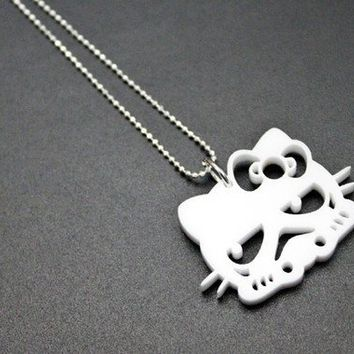 Storm Kitty White Acrylic Necklace by hellowars on Etsy