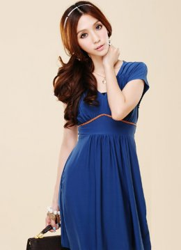 Tempt Blue Smooth Cotton Short Sleeve Dresses : Wholesaleclothing4u.com