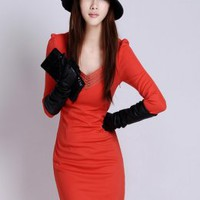 Wonderful Red Stripe Neck Corset Long Dresses : Wholesaleclothing4u.com