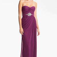 Adrianna Papell Strapless Draped Mesh Column Gown | Nordstrom