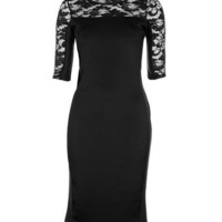 Black Lace & Pleather Bodycon Dress - Clothing - desireclothing.co.uk