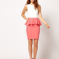 A Wear Contrast Peplum Dress at asos.com