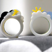 Oh Happy Day / Oh Crappy Day Ring Set cute sun by Weaselfactory
