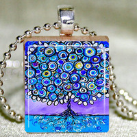 Blue Tree Of Life Scrabble Pendant .. on Luulla