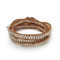 Henna Crystal & Silver Nugget Wrap Bracelet by Chan Luu on Gilt