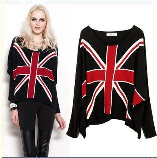 England Flag Bat sleeve black sweater:Buy at Sheinside
