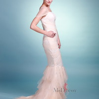 Trumpet/Mermaid Square Tulle Sweep Train Ruffles Dress at Msdressy