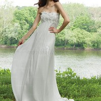 Sheath/Column Strapless Chiffon Sweep Train White Wedding Dresses With Floral at Msdressy