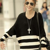 Handsome Korean Style Loose Stripe Knitwear: tidestore.com