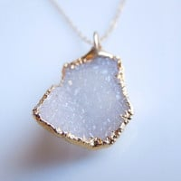 Vanilla Druzy Necklace in Gold