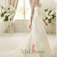 Sheath/Column Sweetheart Sweep Train  Organza Wedding Dress at Msdressy