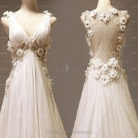 A-line V-neck Chiffon Floor-length White Wedding Dresses With Hand Made Flower at Msdressy