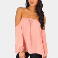 Perfection Off The Shoulder Top - Bright Pink at Necessary Clothing