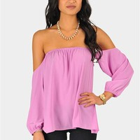 Perfection Off The Shoulder Top - Purple at Necessary Clothing