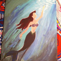 Disney The Litttle Mermaid Ariel inspired 16x20 Canvas Painting