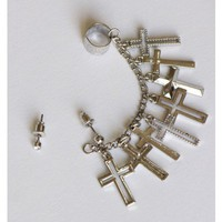 Multi Chain Cross Earring