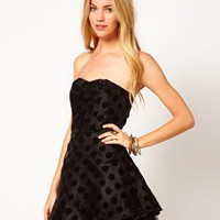AX Paris Polka Dot Prom Dress at asos.com