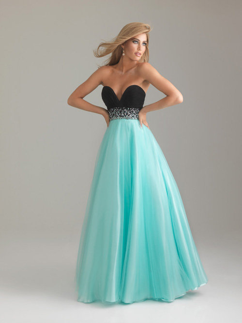Water Blue & Black Chiffon & Tulle Deep Sweetheart Beaded Empire Waist Prom Gown - Unique Vintage
