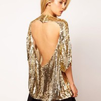 ASOS Sequin Tunic With Heart Cutout Back at asos.com