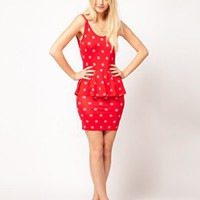 ASOS Peplum Dress In Spot at asos.com