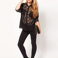 ASOS Shirt With Spot Printed Lace Panels at asos.com