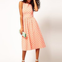 ASOS Midi Dress In Spot Print at asos.com