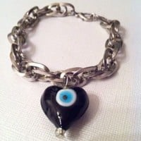 Evil Eye Bracelet Silver Chain With Black Heart Unique Handmade | eBay