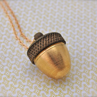 Acorn Canister Locket Ashes Necklace